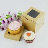 1 Kraft Brown Window Cupcake Box ($1.50/pc x 25 units)
