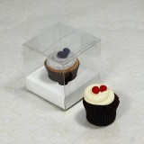 1 Cupcake Clear Mini Cupcake Boxes w White insert($1.40pc x 25 units)