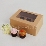 6 Kraft Brown Window MIni Cupcake Box ($2.30/pc x 25 units)
