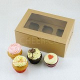 6 Cupcake Window Kraft Brown Box($2.60/pc x 25 units)