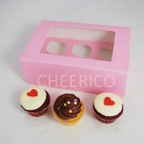 6  Window Pink Cupcake Box($2.60/pc x 25 units)