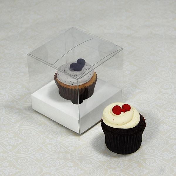 1 Cupcake Clear Mini Cupcake Boxes w White insert($1.40pc x 25 units)