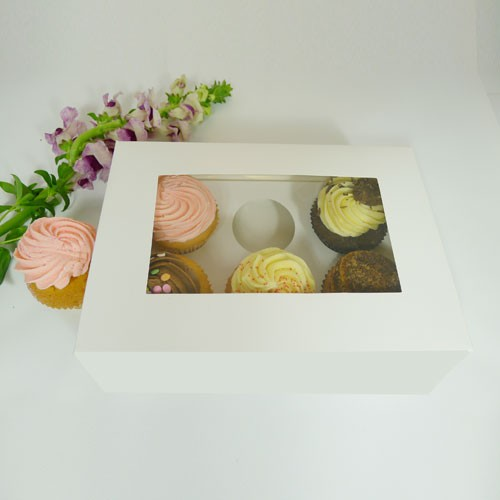 6 Cupcake Window Box w finger hole($2.40/pc x 25 units)