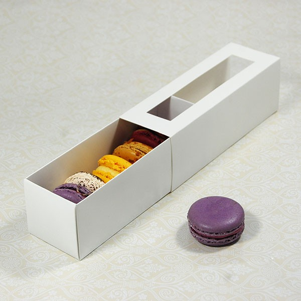 6 White Window Macaron Boxes($1.90/pc x 25 units)