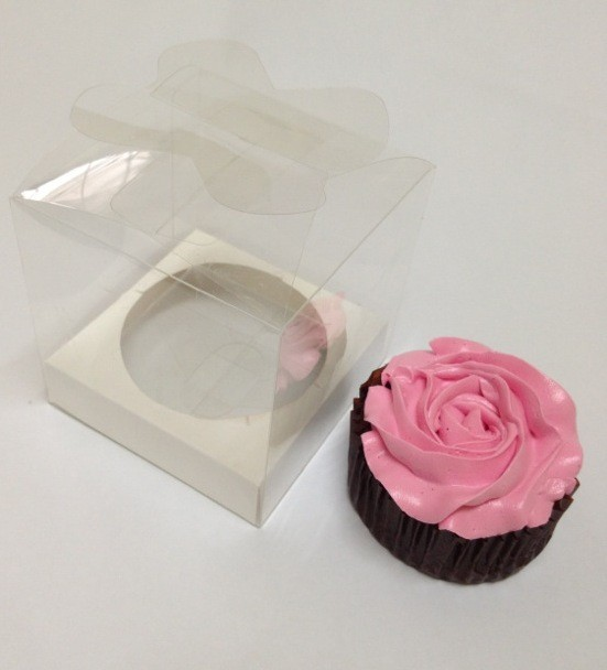 Butterfly Top Single Clear Cupcake Box w Insert ($1.50/pc x 25 units)