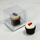1 Cupcake Clear Mini Cupcake Boxes w Silver insert($1.40pc x 25 units)