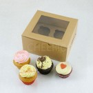 4 Kraft Brown Cupcake Window Box ( $2.30/pc x 25 units)