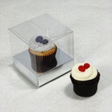 1 Cupcake Clear Mini Cupcake Boxes w Silver insert($1.40pc x 25 units)