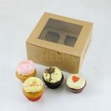 4 Kraft Brown Cupcake Window Box ( $2.30/pc x 25 units)